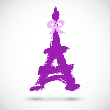 Abstract grunge Eiffel Tower symbol Vector