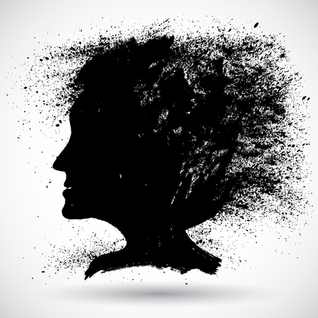 messy hairstyle: Soft woman silhouette in grunge style Illustration