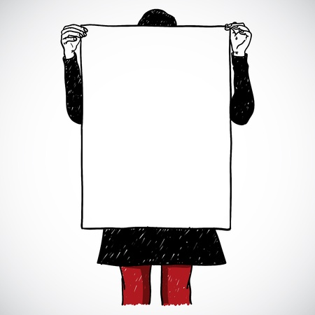 stereotypes: Girl holding an board, vector illustration Illustration