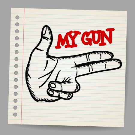 Cartoon gun two fingers sign