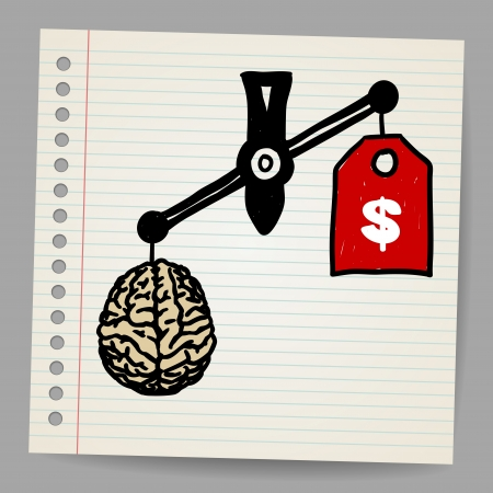 hand weight: Brains outweigh the dollar sign on the scale  Illustration