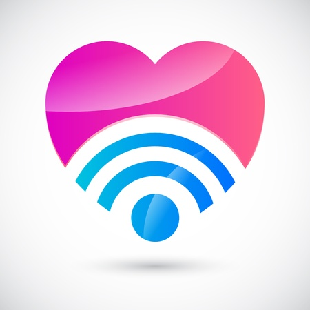 introductions: Wi-fi symbol with heart Illustration