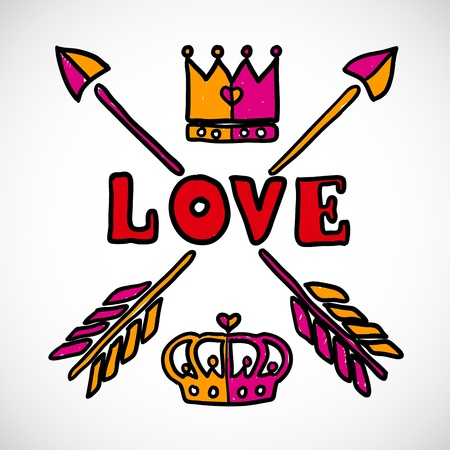Doodle love sign with arrows and crowns Stock Vector - 18078060