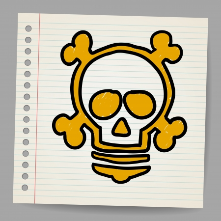 prodigy: lightbulb with skull Illustration