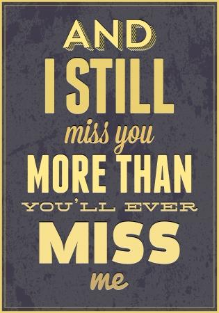 miss you: Vintage Saint Valentine s typography vector illustration