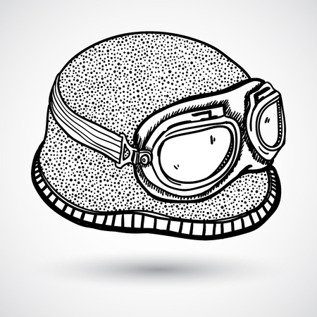motorist: Retro motorcycle helmet and goggles Illustration