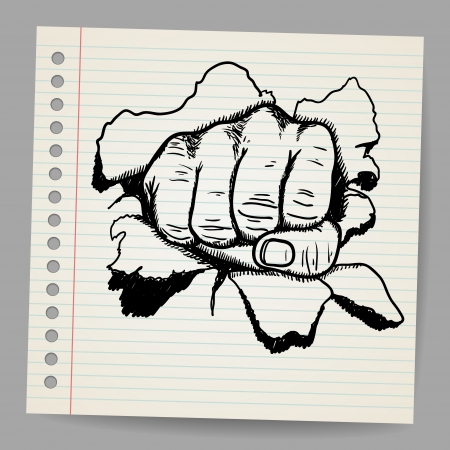 revolutionary: Scribble style illustration of a strong fist symbol