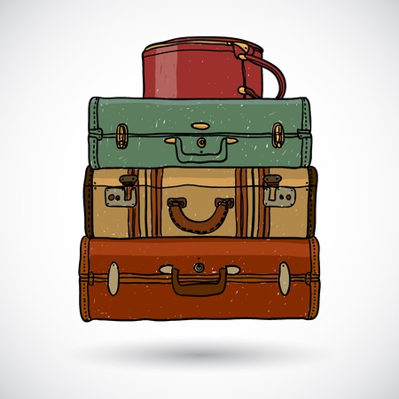luggage bag: Suitcases in doodle style