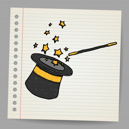 sorcerer: Magic hat with magic wand  Vector sketch