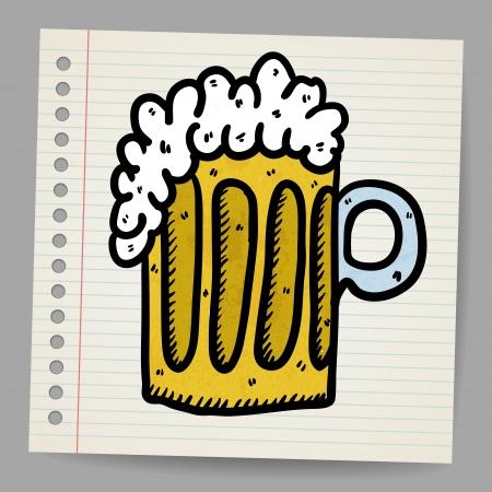 Scribble beer mug Vector