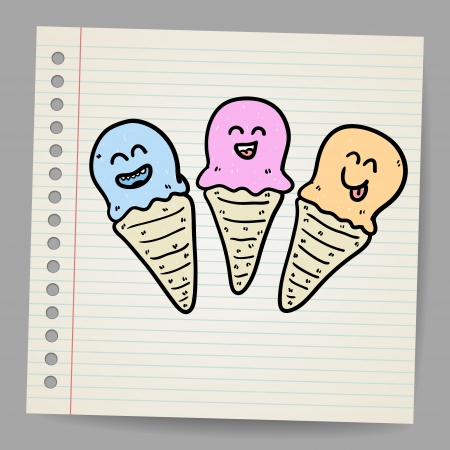 Ice cream cone doodle Stock Vector - 18216831