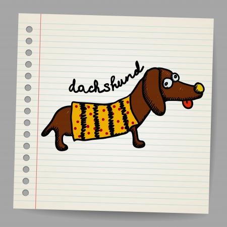 sausage dog: Cartoon dachshund