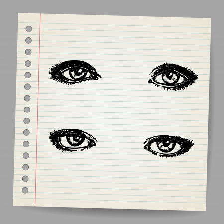 spy girl: Hand Drawn Eyes Illustration