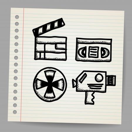 Vector black movie icon doodle set Stock Vector - 18216830