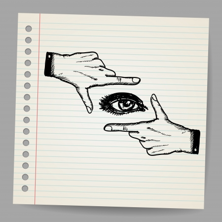 Doodle illustration of two hands and eye being used to frame a scene Vector