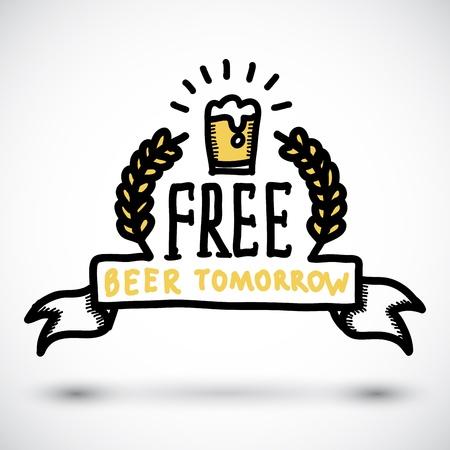 cerveza negra: Mañana libre cerveza divertido doodle de signo