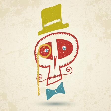 mustaches: Vector illustration of decorative skull