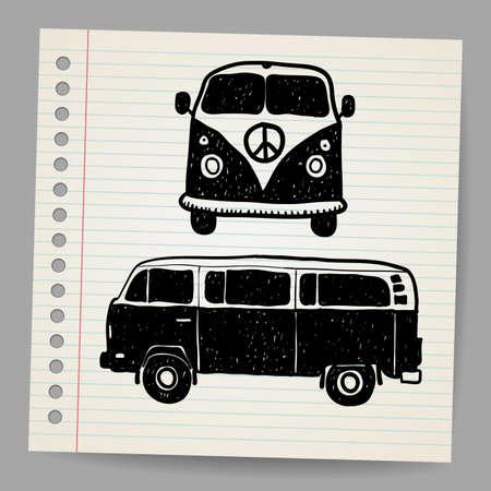 Retro Tropical Happy Hippie Micro Surfboard Bus Van Vector Illustration Illustration