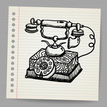 vintage telefoon: Doodle vintage telefoon