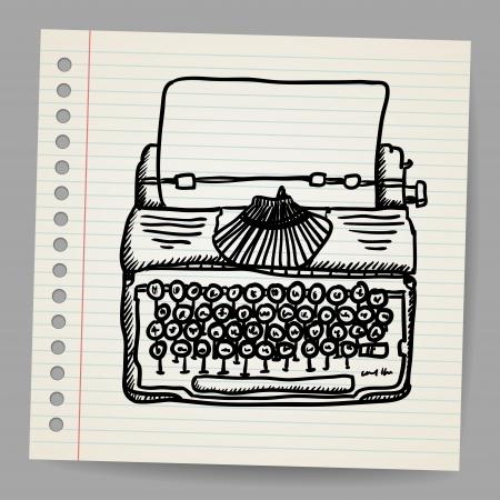 Schetsmatige illustratie van een typemachine machine Vector Illustratie