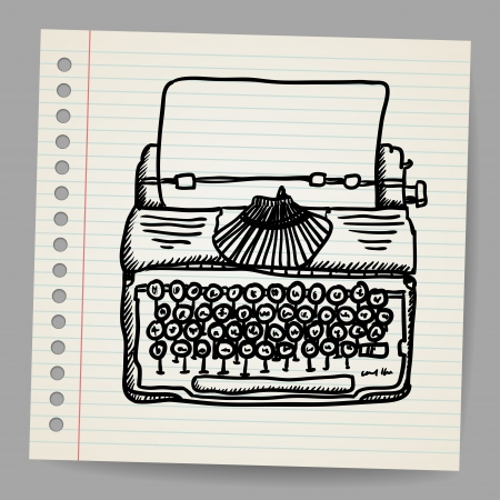 old notebook: Sketchy illustration of a typewriter machine