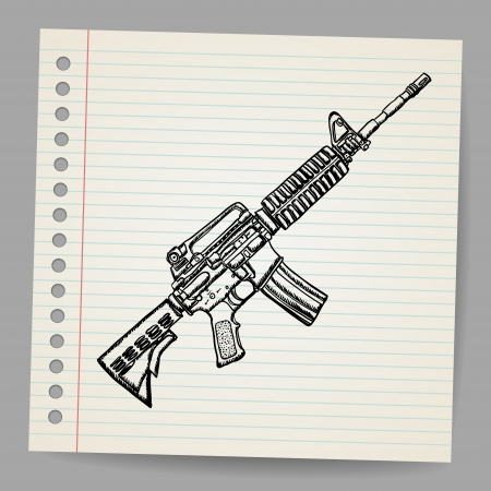 M16 Doodle illustration  Illustration