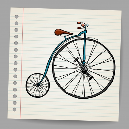 velocipede: Doodle old bicycle illustration