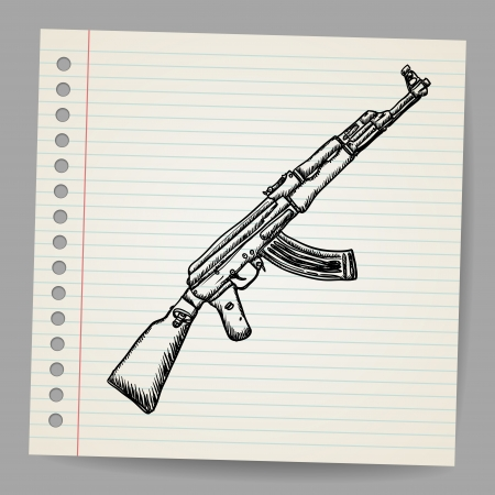 Assault rifle ak47  Doodle style Illustration