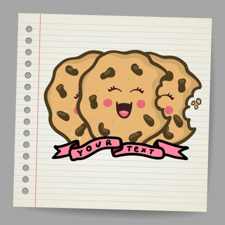 bakery oven: Doodle cookies, illustration
