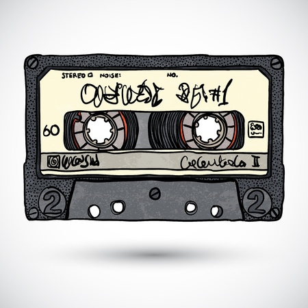 Doodle style cassette tape illustration Vector