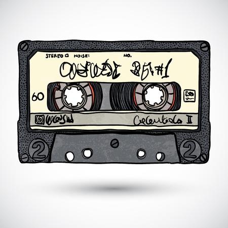 Doodle style cassette tape illustration