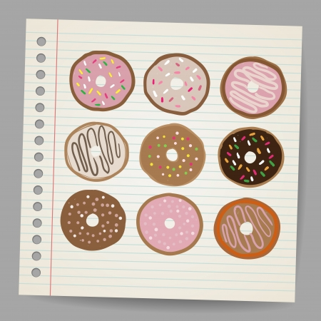 frosted: Doodle style donut or doughnut illustration