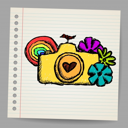 Hand drawn doodle digital camera illustration Vector