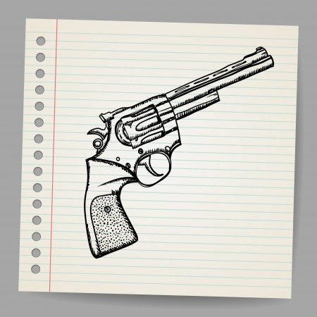 Revolver drawing in doodle style Stock Vector - 18563740