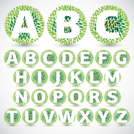 Green Leaves font illustration  Vector