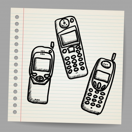 Old mobile phone set  Hand drawing cartoon sketch illustration Vector