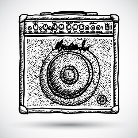 equalization: Guitar Combo Amplifier Vector Illustration