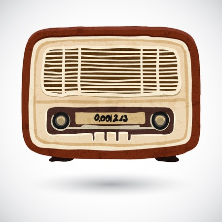 Grunge vintage wooden radio