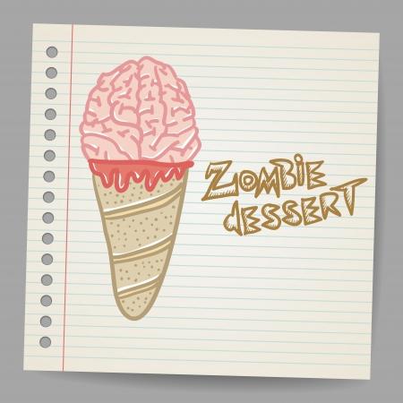 melting ice: Doodle ice cream cone frozen dessert style sketch