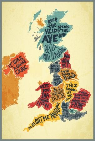 Reino Unido acentos tipografía mapa Ilustración de vector