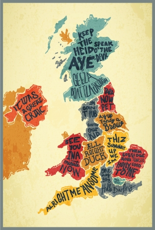 United Kingdom typography accents map
