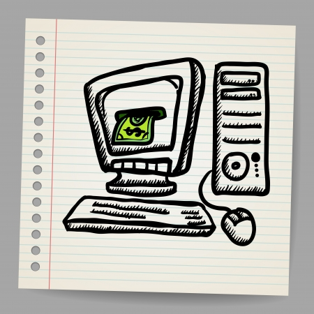 Doodle illustration computer with money inside screen Stock Vector - 18791162