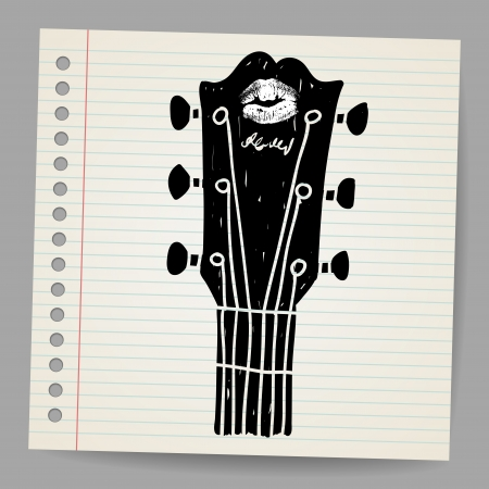 rock   roll: Sketch of an acoustic guitar neck