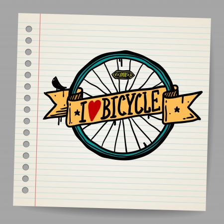 stationary bicycle: Doodles I Love Bicycle Sign
