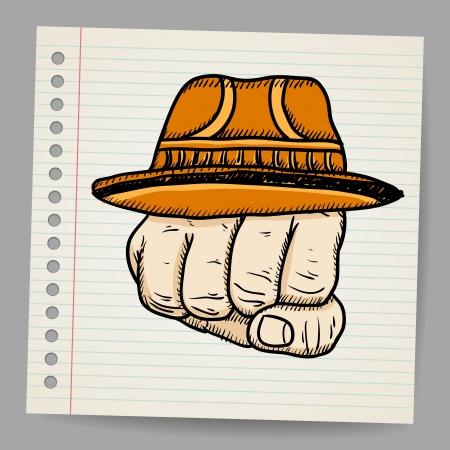 militant: Doodle fist with hat