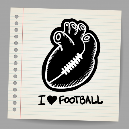 American football illustration shaped heart Vector