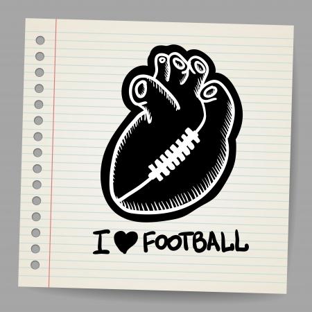 football tackle: American football illustration shaped heart