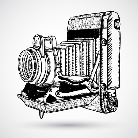 old camera: Vintage doodle camera, hand-drawn