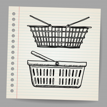 Plastic basket  Doodle style Stock Vector - 18791171
