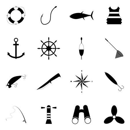 Sea fishing icon set